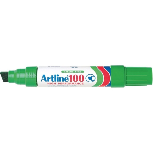 ARTLINE 100 PERMANENT MARKERS LARGE CHISEL GREEN