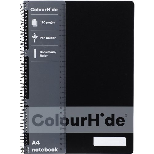 COLOURHIDE NOTEBOOK A4 120 Page Black