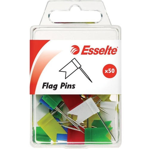 ESSELTE PINS- Flag Pins Assorted Colours Pack of 50 (10x18x33mm)