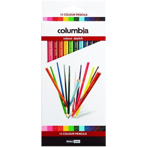 COLUMBIA Coloursketch Colour Pencils Full Length Assorted Pack of 12