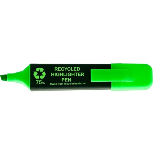 OSMER RECYCLED HIGHLIGHTER PEN Chisel Point Green Pack of 12