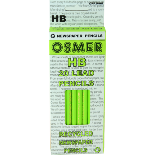OSMER RECYCLED NEWSPAPER PENCILS Graphite Lead HB Box of 20