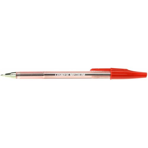 OSMER CAP MODEL BALLPOINT PENS Medium 1.0mm Red Box of 50