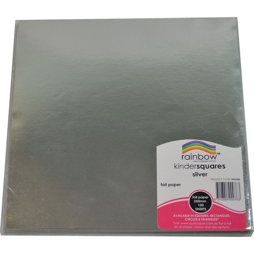 RAINBOW KINDER SHAPES DECORATIVE PAPER FOIL Square 85gsm 250mm Silver Pack of 100