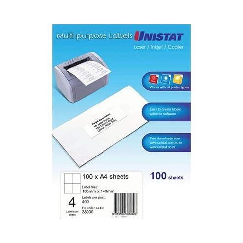 UNISTAT COPIER LASER & INKJET LABELS 4UP 105 x 148mm