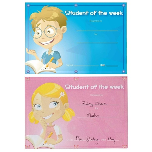 AVERY 69646 Rectangular Student of the Week Merit Certificates 148mm x 210mm Pack of 36