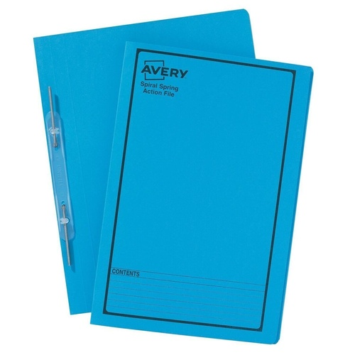 AVERY 85204 Blue Spiral Spring Action File With Black Print Foolscap 355mm x 241mm 270 g/m2 Pack of 25