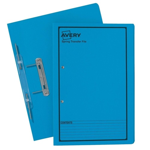 AVERY 86824 Blue Spring Transfer File With Black Print Foolscap 355mm x 241mm 270 g/m2 Pack of 25