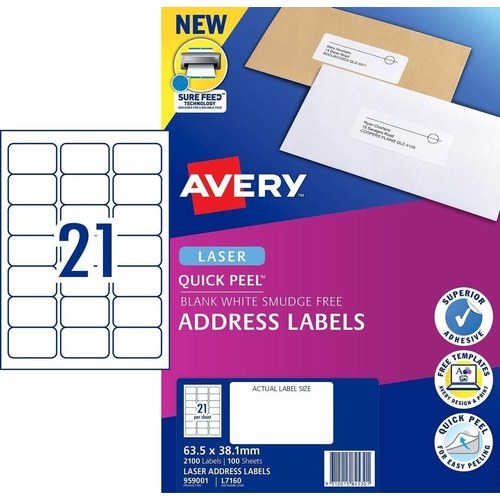 AVERY 959001 Quick Peel White Address Labels With Sure Feed 63.5mm x 38.1mm Laser Permanent 21 Per Sheet 100 Sheets Per Pack