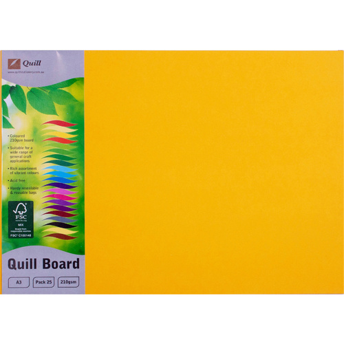 QUILL BOARD 210gsm A3 Sunshine Pack of 25