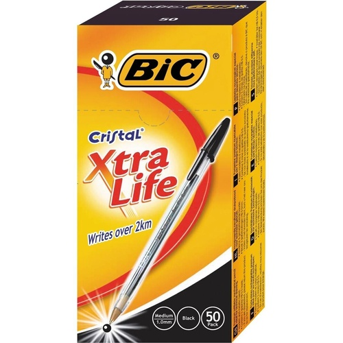 BIC CRISTAL BALLPOINT PEN Black - Box of 50