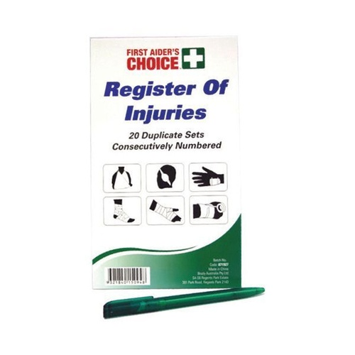 FIRST AIDER'S CHOICE REGISTER OF INJURIES Book - 20 Duplicates