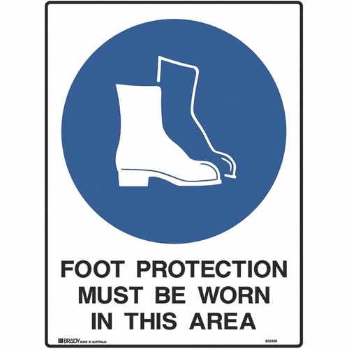 BRADY MANDATORY SIGN Foot Protection Must Be Worn In This Area Polypropylene H600mm x W450mm
