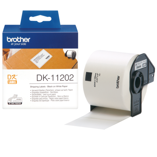 BROTHER DK-11202 LABEL ROLL 62mm x 100mm Black on White 300 Labels Per Roll