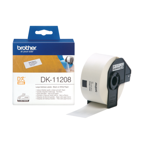 BROTHER DK-11208 LABEL ROLL 38mm x 90mm Black on White 400 Labels Per Roll