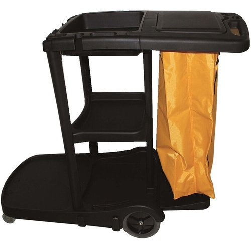 CLEANLINK JANITOR'S TROLLEY 3 Tier With Lid 1300 x 550 x 1000mm Black