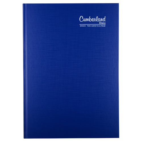 2020 CUMBERLAND DIARY PREMIUM CASEBOUND Blue A4 Two Days Per Page