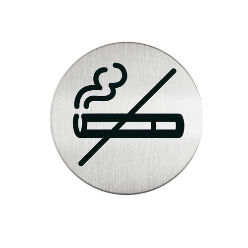 CUMBERLAND 83mm ROUND DURABLE PICTOGRAM No Smoking Silver