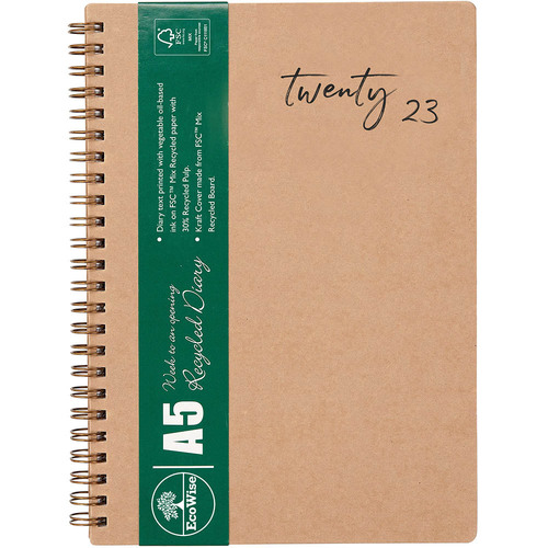 2020 CUMBERLAND ECOWISE RECYCLED DIARY Kraft Brown A5 Week To View