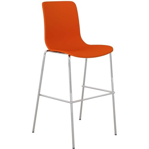 ACTI BCT CHROME 4 LEG HIGH BAR STOOL Upholstered Vinyl Shell Orange