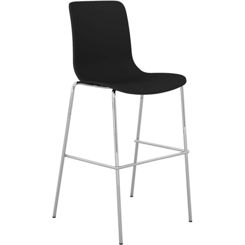 ACTI BCT CHROME 4 LEG HIGH BAR STOOL Upholstered Vinyl Shell Black