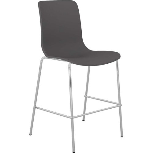 ACTI BCL CHROME 4 LEG LOW BAR STOOL Upholstered Vinyl Shell Charcoal