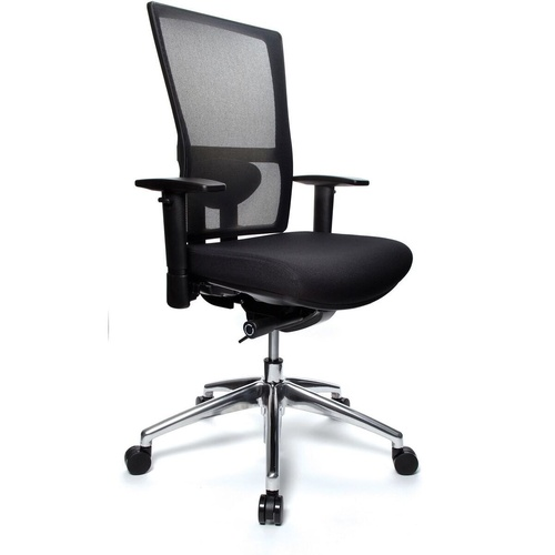 KODA ERGONOMIC MESH BACK CHAIR Polished Aluminium Base Black Fabric