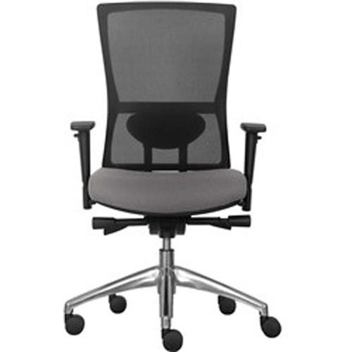 KODA ERGONOMIC MESH BACK CHAIR Polished Aluminium Base Grey Fabric