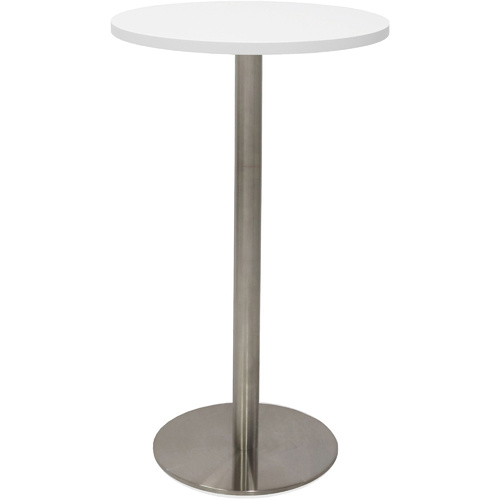 RAPIDLINE CIRCULAR DRY BAR TABLE 600mm Natural White Top With Stainless Steel Base