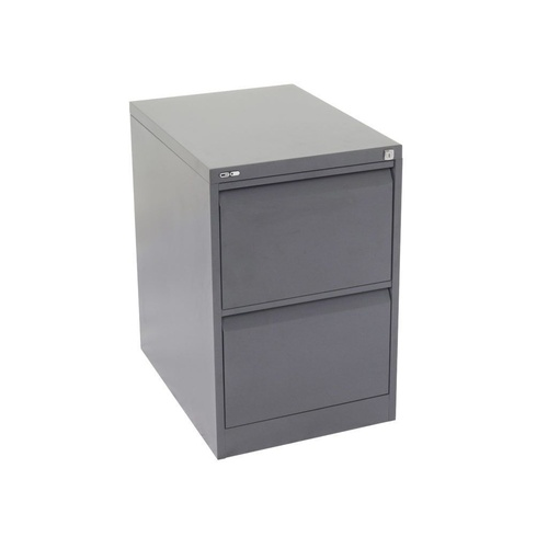 GO 2 DRAWER FILING CABINET H705mm x W460mm x D620mm Graphite Ripple