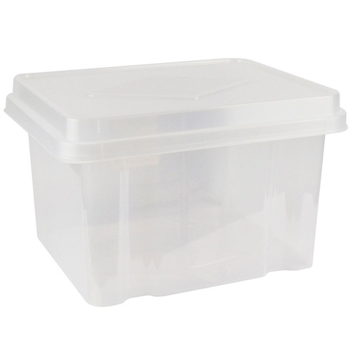 ITALPLAST - Storage and File Box Clear with Clear Lid 32 Litre