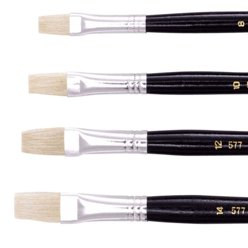 Jasart Hog Bristle Series 577 Flat Brush Size 10 Pack of 12