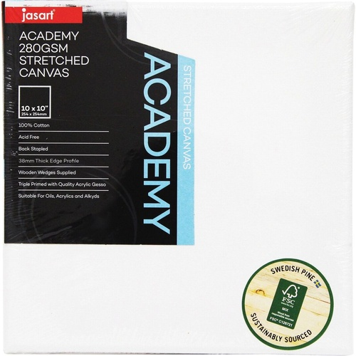 Jasart Academy Canvas 280gsm 10 x 10 Inch 254 x 254mm Thick Edge