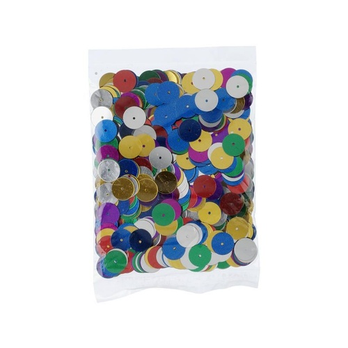 JASART SEQUINS Round , Assorted Colours 10mm 25gm