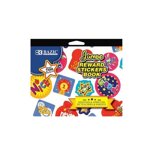 Bazic Jumbo Reward Merit Sticker Book (6 Sheets Over 700 stickers)