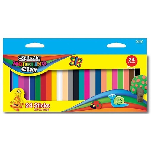 BAZIC Modeling Clay Sticks Assorted Box of 24