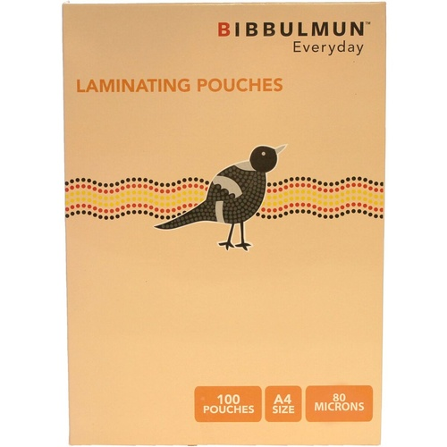 BIBBULMUN LAMINATING POUCHES A4 80 Microns Pack of 100
