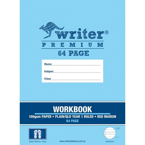 WRITER PREMIUM PROJECT WORKBOOK 330x240mm Plain/ Qld Yr 1 Ruling 64 Pages Thongs