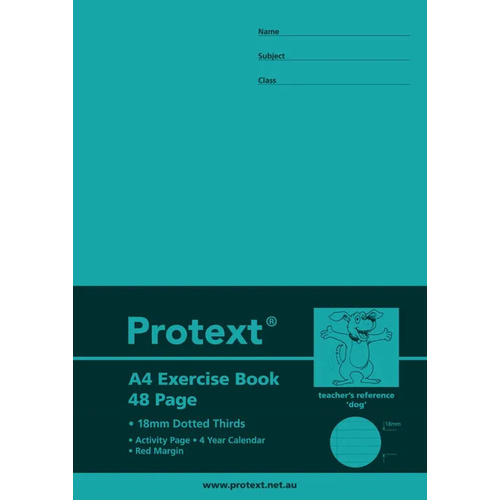 PROTEXT EXERCISE BOOK A4 18mm Dotted Thirds Ruling 48 Pages Dog