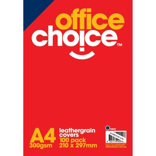 OFFICE CHOICE BINDING COVERS Leathergrain 300gsm A4 Navy Blue Pack of 100