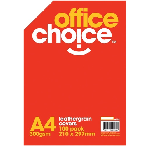 OFFICE CHOICE BINDING COVERS Leathergrain 300gsm A4 White Pack of 100
