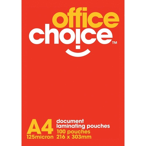 OFFICE CHOICE LAMINATING POUCH A4 125 micron Box of 100