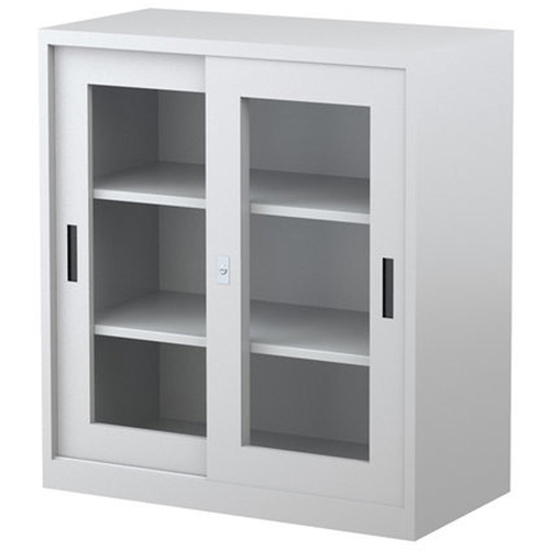 STEELCO GLASS DOOR CABINET 2 Shelf Levels 1015mmH x 914mmW x 465mmD Silver Grey