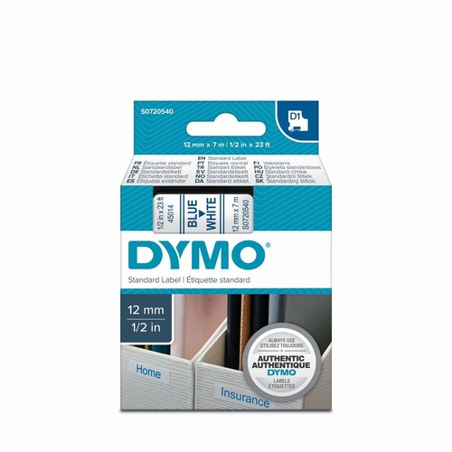 DYMO 45014 D1 LABEL CASSETTE 12mm x 7m Blue on White