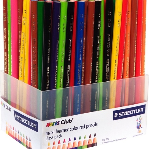 STAEDTLER 126 NORIS CLUB MAXI Learner Coloured Pencils Jumbo Assorted Class Pack of 200