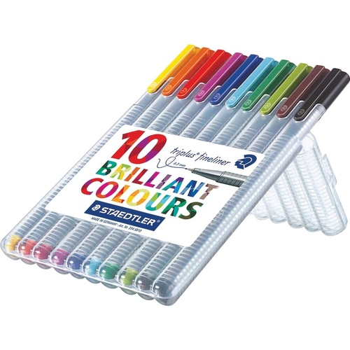 STAEDTLER 334 TRIPLUS Triangular Fineliners Assorted Superfine Wallet of 10