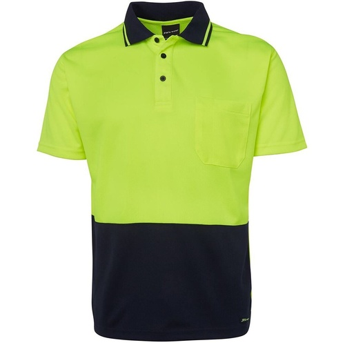 ZIONS 3811 HIVIS TRADITIONAL POLO Fluoro Yellow/ Navy